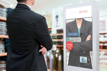 Intelligent Digital Signage , Augmented reality marketing and face recognition concept. Smart glass interactive artificial intelligence digital advertisement in fashion retail shopping Mall. Wall mural