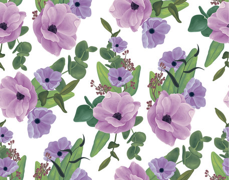 Seamless pattern, imitation of watercolor. Bouquet with violet anemone flowers, eucalyptus, various retochek, foliage, greens. White background.