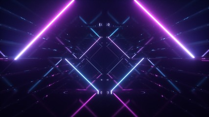 Abstract flying in futuristic corridor background, fluorescent ultraviolet light, mirror lines laser neon lines, geometric endless tunnel, 3d illustration, blue pink spectrum Fotomurales