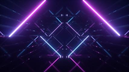 Fototapeta Abstract flying in futuristic corridor background, fluorescent ultraviolet light, mirror lines laser neon lines, geometric endless tunnel, 3d illustration, blue pink spectrum obraz