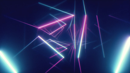 Abstract flying in futuristic corridor with triangles background, fluorescent ultraviolet light,...