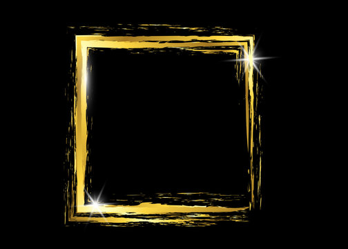 Gold shiny glowing vintage frame with golden brush strokes isolated or black background. Gold leaf luxury realistic border, square abstract frame painted with brush strokes gold vector design
