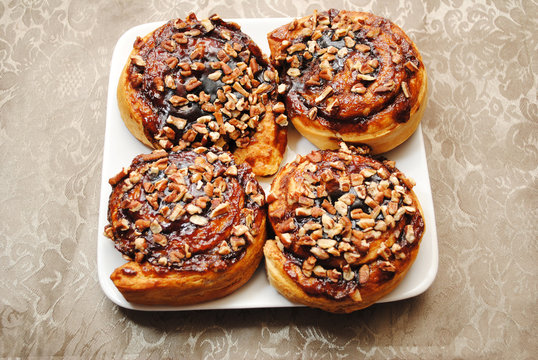 Gourmet Sticky Buns with Chopped Walnuts on Top