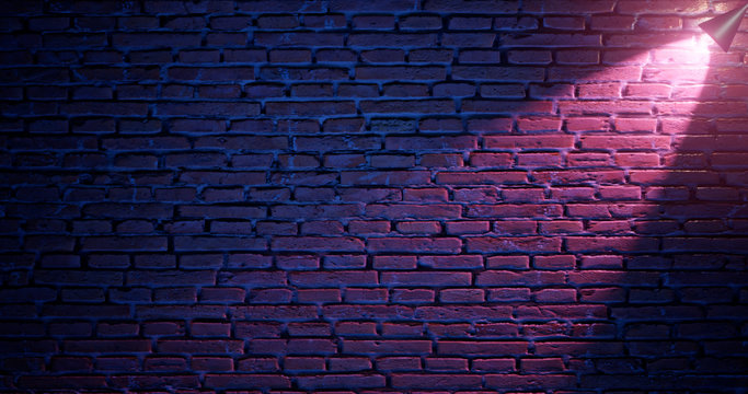 3d rendering. Brick wall illuminated by neon pink light from spotlights. Abstract background Light effect on a serving surface.