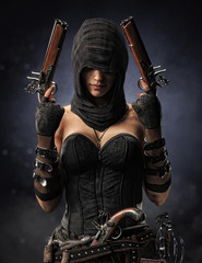 Portrait of a hooded well armed female pirate Assassin with multiple black powder pistol's and a cutlass sword on a bokeh background. 3d rendering
