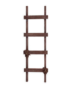 Old wooden staircase on a white background
