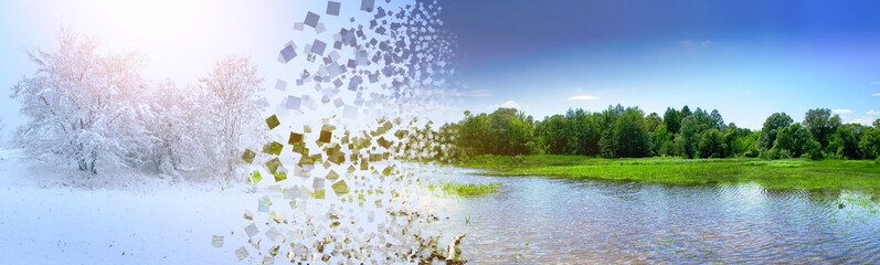the concept of the change of seasons winter summer with the destruction and expansion of the explosion of pixels photo
