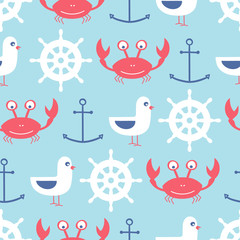 vector seamless pattern with crab, anchor, seagull, helm
