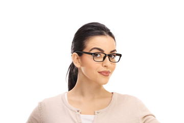 Portrait of a young brunette with glasses
