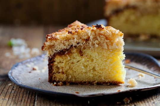 Danish dream cake with coconut topping