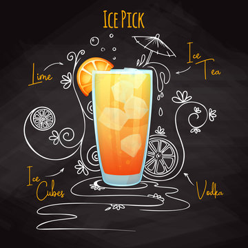 Simple recipe for an alcohol cocktail Ice Pick. Drawing chalk on a blackboard. Vector