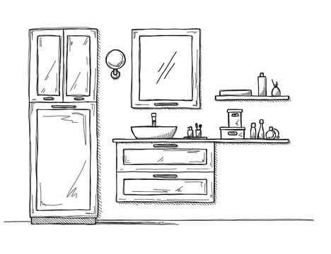 Sketch the bathroom. Bathroom furniture and washbasin.