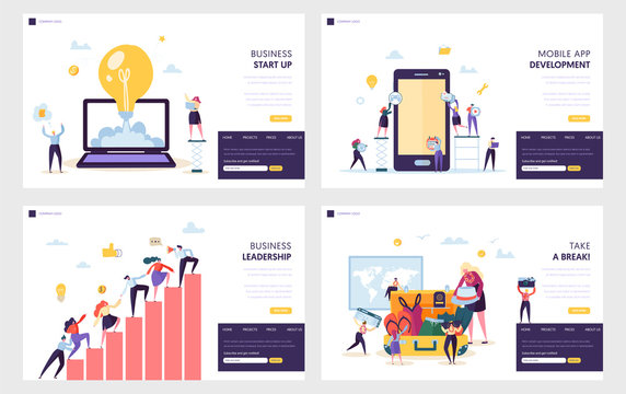 Business Start Up Landing Page Set. Mobile App Development, Leadership Practical Skill for Guide Team, Vacation after Heavy Work Website or Web Page. Flat Cartoon Vector Illustration