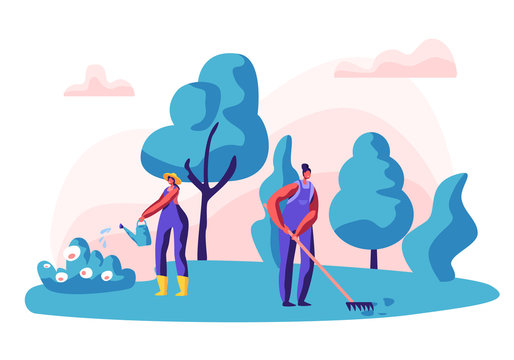 Gardener Female Character at Work. Woman Working in the Garden Watering Flowers and Care Plants with Tools. Organic Gardening Concept. Vector flat illustration