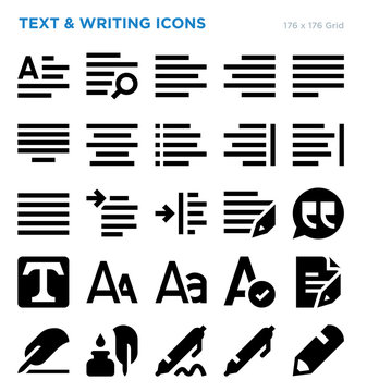 Text And Writing Vector Icon Set