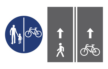 Road sign, pedestrian and bicyclist, vector illustration icon. Circular blue traffic sign. White image on the roadbed. white silhouette of people, man and baby girl, and bicycle