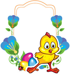 Flower frame with cute little chicken and Easter eggs