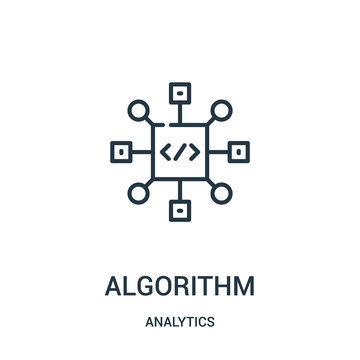 algorithm icon vector from analytics collection. Thin line algorithm outline icon vector illustration.