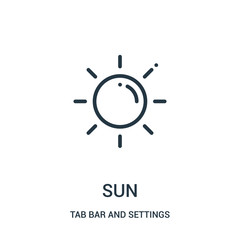 sun icon vector from tab bar and settings collection. Thin line sun outline icon vector illustration.