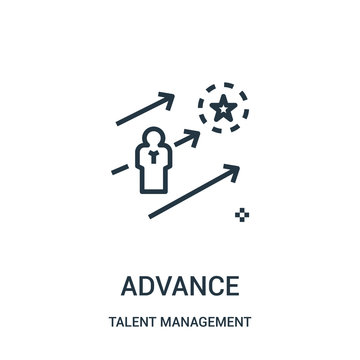 advance icon vector from talent management collection. Thin line advance outline icon vector illustration.