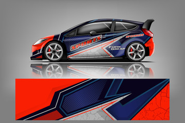 Fototapete - Car wrap design vector, truck and cargo van decal. Graphic abstract stripe racing background designs for vehicle, rally, race, adventure and car racing livery. - Vector - Vector