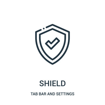 shield icon vector from tab bar and settings collection. Thin line shield outline icon vector illustration.