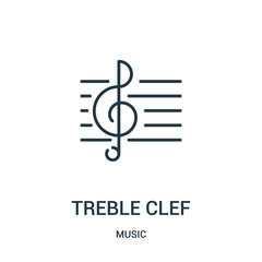 treble clef icon vector from music collection. Thin line treble clef outline icon vector illustration.