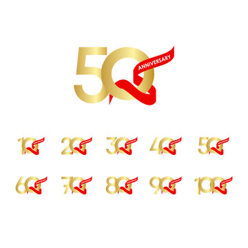 50 Year Anniversary Gold Red Ribbon Set Vector Template Design Illustration