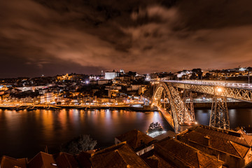 Night View of Dom Luís I Bridge over Douro River and City of Oporto, Portugal