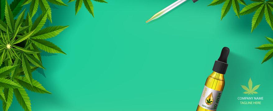 Marijuana plant and drop oil, green background.