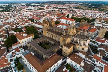 Aerial view of the city Evora Alentejo Portugal - historical center