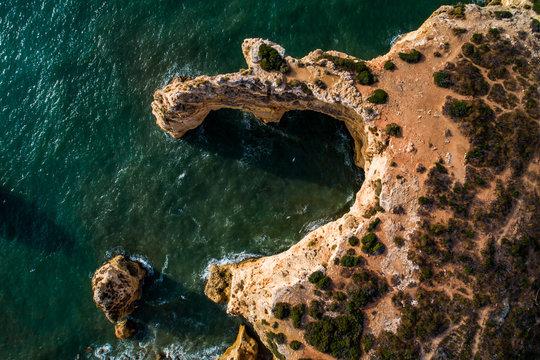 Praia da Marinha, Lagoa, Algarve, Portugal, Europe - Aerial View at Dsuk