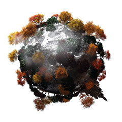concept art of tiny planet with white background