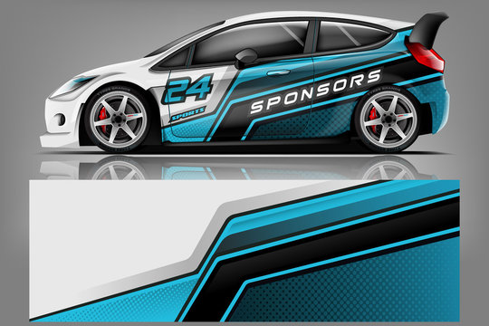 Car wrap design vector, truck and cargo van decal. Graphic abstract stripe racing background designs for vehicle, rally, race, adventure and car racing livery. - Vector - Vector
