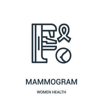 mammogram icon vector from women health collection. Thin line mammogram outline icon vector illustration.