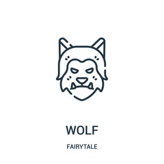 wolf icon vector from fairytale collection. Thin line wolf outline icon vector illustration.