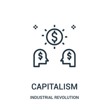 capitalism icon vector from industrial revolution collection. Thin line capitalism outline icon vector illustration.