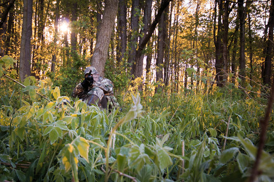 Turkey Hunting in spring with sunrise through trees