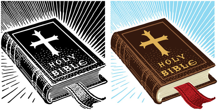 An illustration of a leather bound Christian holy bible.