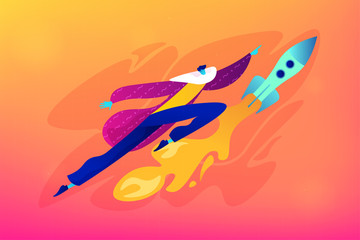 Start up launch, start up venture and entrepreneurship concept. Vector isolated concept illustration. Small heads and huge legs people. Hero image for website.