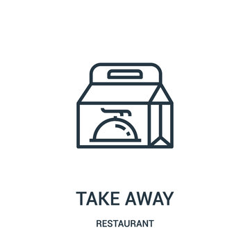 take away icon vector from restaurant collection. Thin line take away outline icon vector illustration.