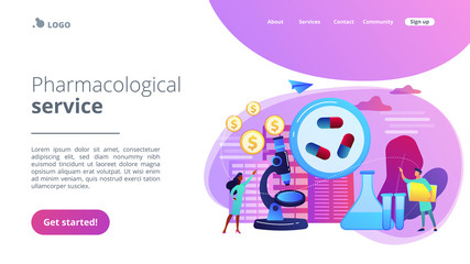 Tiny people scientists in the lab produce pharmaceutical drugs. Pharmacological business, pharmaceutical industry, pharmacological service concept. Website vibrant violet landing web page template.