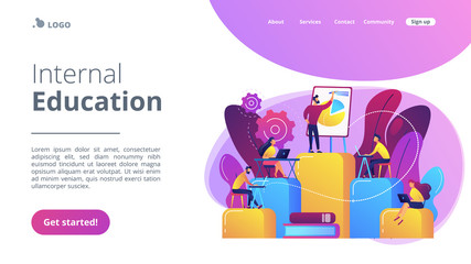 Employees with laptops learning at professional trainig. Internal education, employee education, professional development program concept. Website vibrant violet landing web page template.