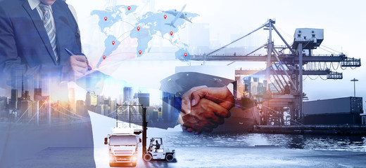 Business people shaking hands, success business of Logistics Industrial Container Cargo freight ship for Concept of fast or instant shipping, Online goods orders worldwide Wall mural