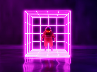 astronaut  and neon light background , 3d render