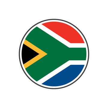 Circle south africa flag with icon vector isolated on white background