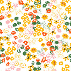 Retro colorful Flowery colorful pattern in small-scale flowers. Liberty style .Floral seamless design for fashion , fabric,wallpaper,web and all prints