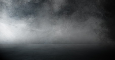 empty dark room abstract fog smoke glow rays wall and floor interior displays product Fototapete
