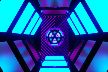 Cyber Punk Neon Scifi Background -Blue and Purple- Futuristic 3D design