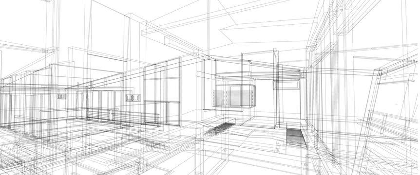 Architecture interior space design concept 3d perspective wire frame rendering isolated white background